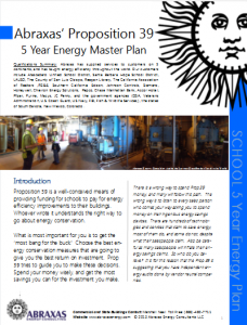 Proposition 39 5 Year Energy Master Plan for Schools